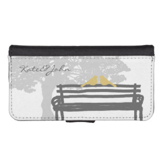 Birds on a Park Bench Wedding iPhone 5 Wallet Cases