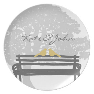 Birds on a Park Bench Wedding Party Plate