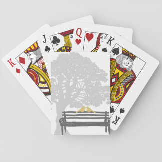 Birds on a Park Bench Wedding Playing Cards