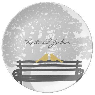Birds on a Park Bench Wedding Porcelain Plates