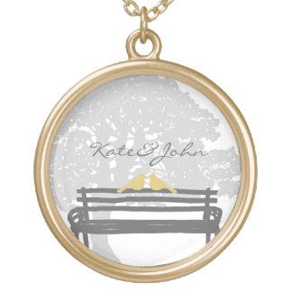 Birds on a Park Bench Wedding Round Pendant Necklace
