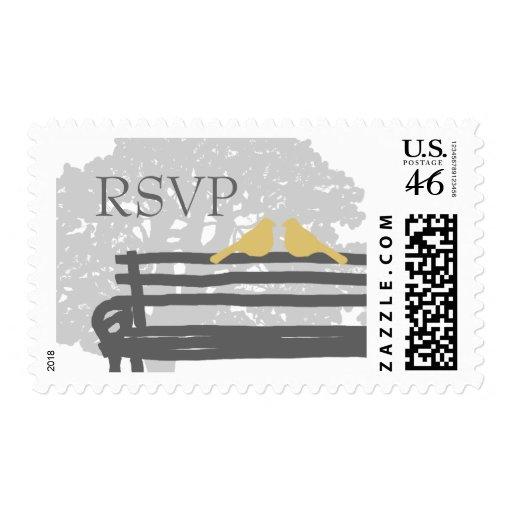 Birds on a Park Bench Wedding RSVP Postage Stamp