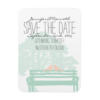 Birds on a Park Bench Wedding Save the Date Magnet