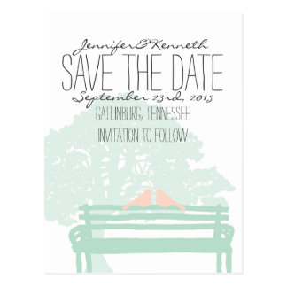 Birds on a Park Bench Wedding Save the Date Postcard