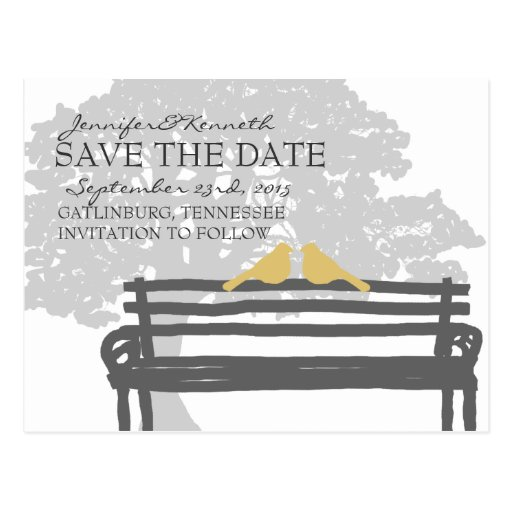Birds on a Park Bench Wedding Save the Date Postcards