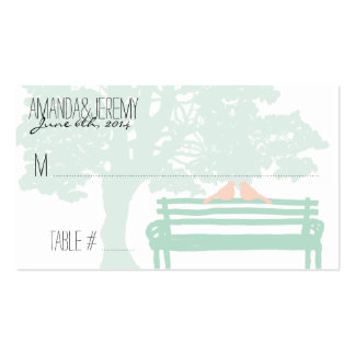 Birds on a Park Bench Wedding Seating Cards Double-Sided Standard Business Cards (Pack Of 100)