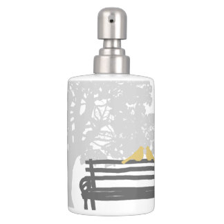 Birds on a Park Bench Wedding Soap Dispenser And Toothbrush Holder