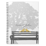 Birds on a Park Bench Wedding Spiral Note Book
