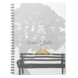 Birds on a Park Bench Wedding Spiral Notebook