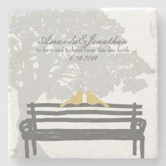 Birds on a Park Bench Wedding Stone Coaster