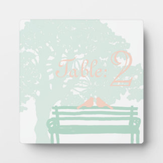 Birds on a Park Bench Wedding Table number Plaque