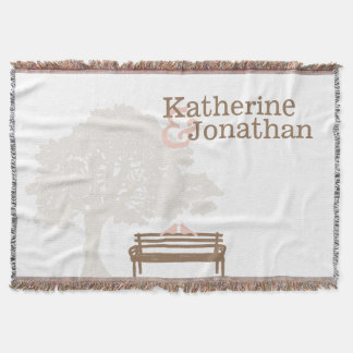 Birds on a Park Bench Wedding Throw