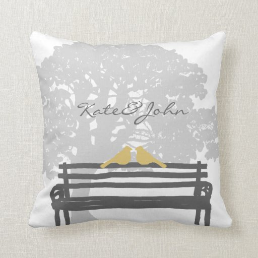 Throw Pillows On Clearance : Birds on a Park Bench Wedding Throw Pillow Zazzle
