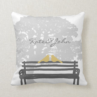 Birds on a Park Bench Wedding Throw Pillow