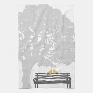 Birds on a Park Bench Wedding Towel