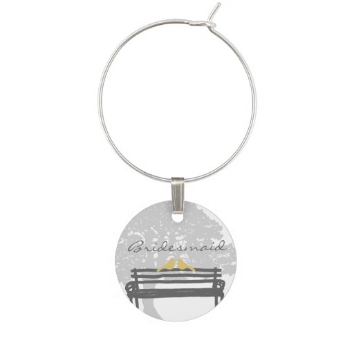 Birds on a Park Bench Wedding Wine Charms