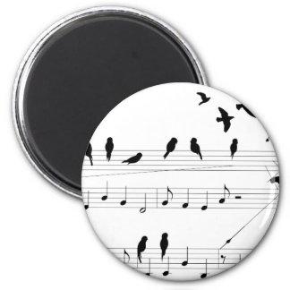 Birds on a Score 2 Inch Round Magnet