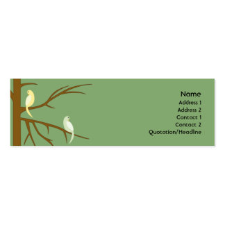 Birds on a Tree - Skinny Double-Sided Mini Business Cards (Pack Of 20)