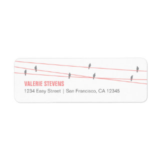 Birds on a Wire Address Label (Pink)