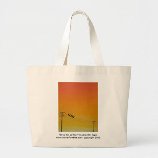 Birds On A Wire at Sunset Large Tote Bag