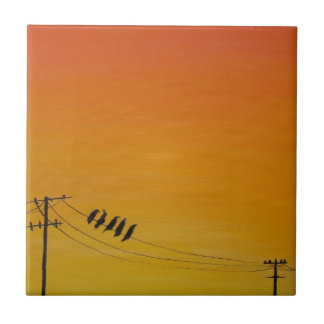 Birds On A Wire at Sunset Ceramic Tiles