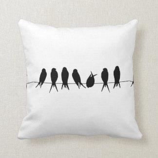 Birds on A Wire Black & White Design Pillow