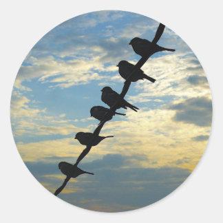 Birds on a Wire Classic Round Sticker