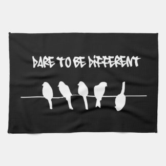 Birds on a wire – dare to be different (black) hand towels