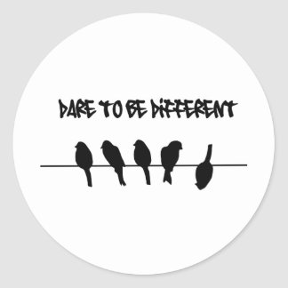 Birds on a wire – dare to be different classic round sticker