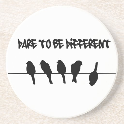 Birds on a wire – dare to be different beverage coaster