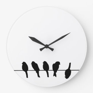 Birds on a wire – dare to be different large clock