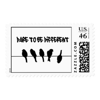 Birds on a wire – dare to be different stamp
