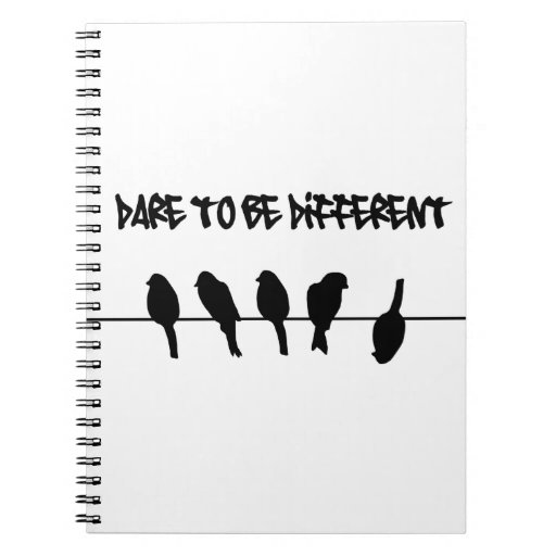 Birds on a wire – dare to be different spiral notebook
