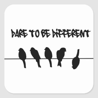Birds on a wire – dare to be different square sticker