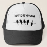 """Birds on a wire – dare to be different trucker hat<br><div class=""""desc"""">""""birds on a wire"""",  birds,  """"dare to be different"""",  bird,  wire,  silhouette,  different,  dare,  to be,  inspiring,  inspirational,  inspire,  motivate,  individuality,  individual,  motivational,  motivation,  cool,  awesome,  """"bird silhouette"""",  silhouettes,  animals,  """"be yourself""""</div>"""