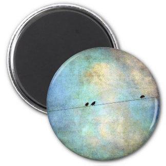 Birds on a Wire Digital Art 2 Inch Round Magnet