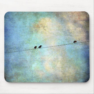Birds on a Wire Digital Art Mouse Pad