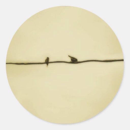 Birds on A Wire in Autumn Classic Round Sticker
