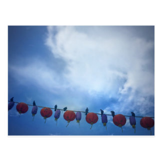 Birds on a wire in Chinatown, Singapore Postcard
