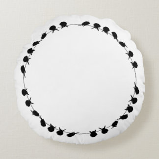 Birds on a wire on editable background colour round pillow