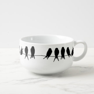 Birds on a wire on editable background colour soup mug