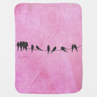 Birds On A Wire personalized baby blanket, pink Receiving Blanket