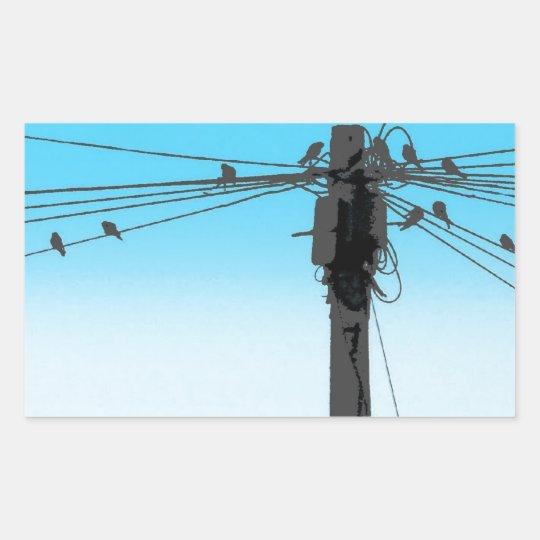 Birds on a Wire Rectangular Sticker