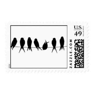 Birds On A Wire Silhouette Design Stamp