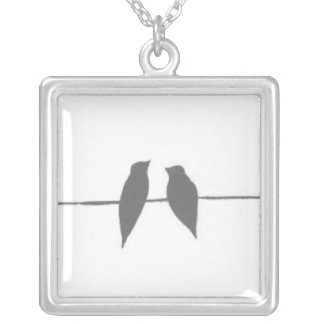 Birds on a Wire Square Pendant Necklace
