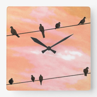 BIRDS ON A WIRE. SQUARE WALL CLOCK