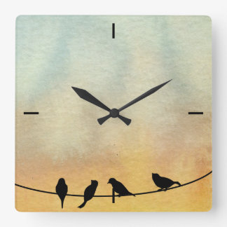 Birds on a wire square wall clock