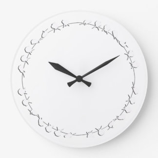 Birds on a Wire White Silhouette Design Large Clock