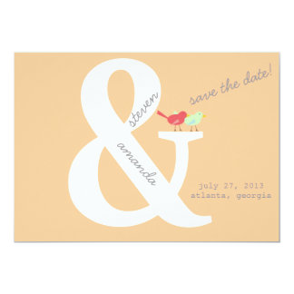 Bird's On An Ampersand Save the Date Card