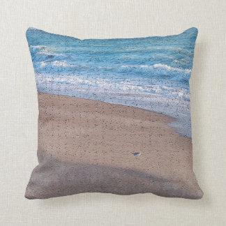 birds on beach crackle sea shore florida throw pillow